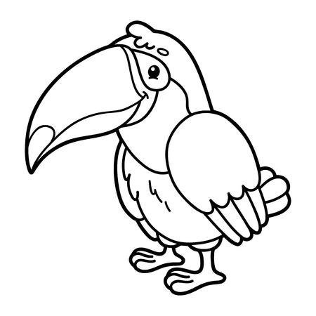 scrap book: Cute tukan.  illustration of cute cartoon tukan character for children, coloring and scrap book