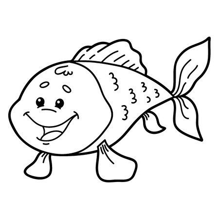 scrap book: Cute fish.  illustration of cute cartoon fish character for children, coloring and scrap book