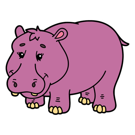 scrap book: Cute hippopotamus.  illustration of cute cartoon hippopotamus character for children and scrap book Illustration