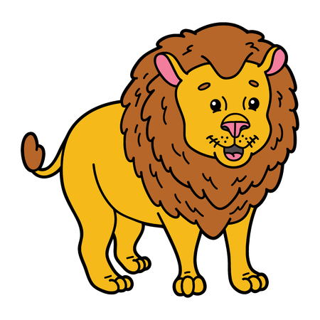 leon bebe: Cute lion. illustration of cute cartoon lion character for children and scrap book