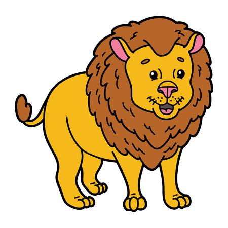 leon bebe: Le�n lindo. ilustraci�n de dibujos animados lindo personaje de le�n para los ni�os y �lbum de recortes Vectores