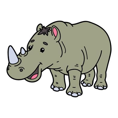 scrap book: Cute rhinoceros.  illustration of cute cartoon rhinoceros character for children and scrap book Illustration
