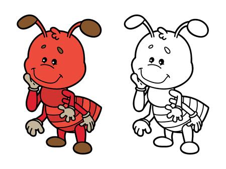 hormiga caricatura: hormiga divertida. Página para colorear ilustración de feliz hormiga de la historieta para los niños, pintar y álbum de recortes
