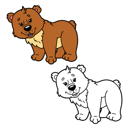 scrap book: funny bear.  illustration coloring page of happy cartoon for bear children, coloring and scrap book