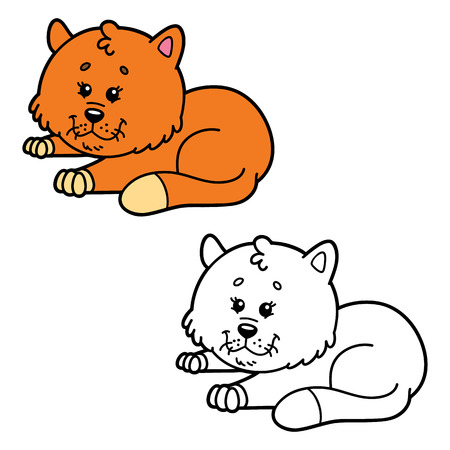 scrap book: funny cat.  illustration coloring page of happy cartoon cat for children, coloring and scrap book