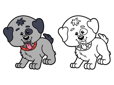 chubby cartoon: funny dog.  illustration coloring page of happy cartoon dog for children, coloring and scrap book