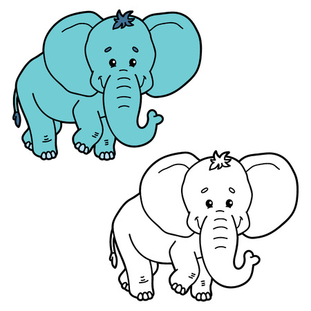 scrap book: funny elephant.  illustration coloring page of happy cartoon elephant for children, coloring and scrap book