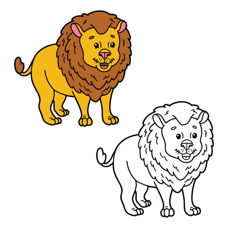 scrap book: funny lion. illustration coloring page of happy cartoon lion for children, coloring and scrap book
