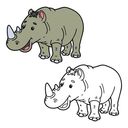 scrap book: funny rhinoceros.  illustration coloring page of happy cartoon rhinoceros for children, coloring and scrap book