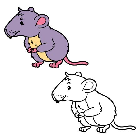 vole: funny vole.  illustration coloring page of happy cartoon vole for children, coloring and scrap book Illustration