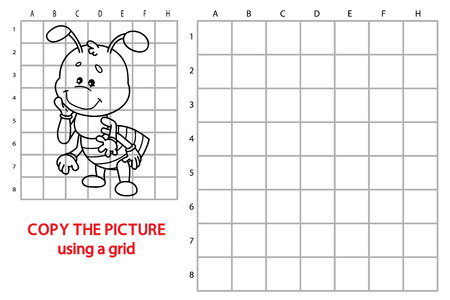 brainteaser: funny ant game. illustration of grid copy puzzle with happy cartoon ant for children Illustration