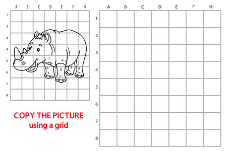 brainteaser: funny rhinoceros game. illustration of grid copy puzzle with happy cartoon rhinoceros for children