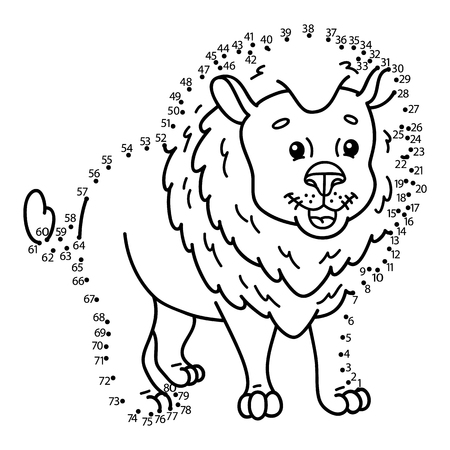 dessin au trait: point � point jeu de lion. Vector illustration de point � point puzzle avec lion de bande dessin�e heureuse pour les enfants