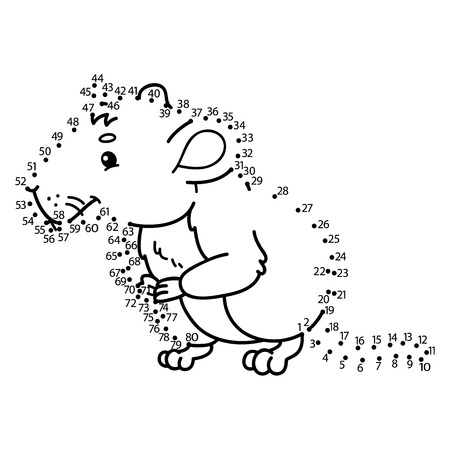 vole: dot to dot vole game. Vector illustration of dot to dot puzzle with happy cartoon vole for children Illustration