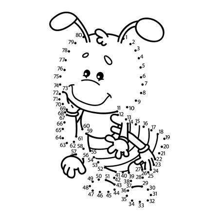 hormiga caricatura: Punto para puntear el juego hormiga. Ilustración vectorial de punto a punto de puzzle con hormiga feliz de dibujos animados para los niños Vectores