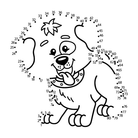 activity cartoon: dot to dot dog game. Vector illustration of dot to dot puzzle with happy cartoon dog for children