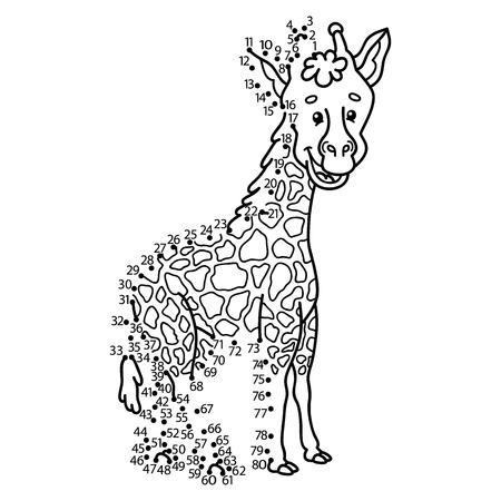 jirafa: Punto para puntear el juego jirafa. Ilustración vectorial de punto a punto de puzzle con feliz jirafa de dibujos animados para los niños