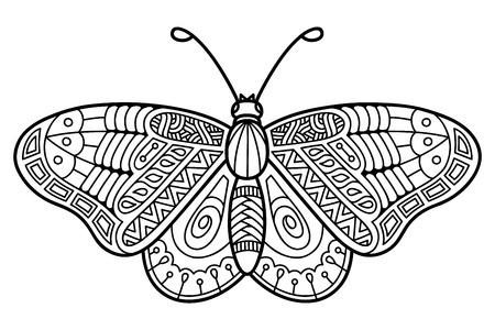 anti stress: Cute butterfly. Vector illustration of cute ornate zentangle butterfly for children or for adult anti stress coloring book