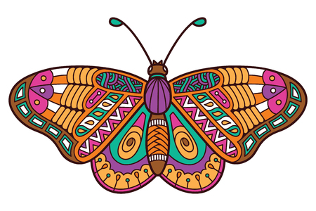 Cute butterfly. Vector illustration of cute ornate zentangle butterfly Illustration