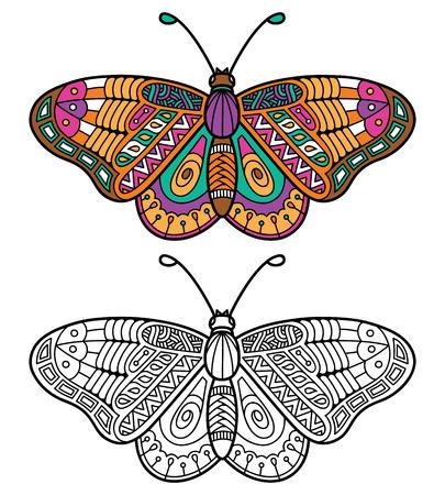 mariposa: Mariposa linda. Ilustración vectorial de lindo mariposa zentangle adornado para niños o para adultos libro para colorear anti estrés Vectores
