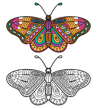 Cute butterfly. Vector illustration of cute ornate zentangle butterfly for children or for adult anti stress coloring book