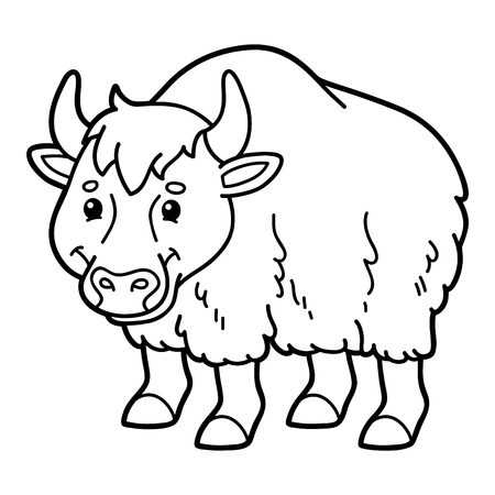 Cute yak. Vector illustration of cute cartoon yak character for children, coloring and scrap book 向量圖像