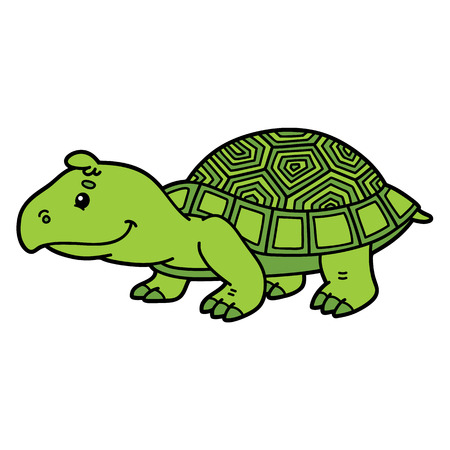 Cute turtle. Vector illustration of cute cartoon turtle character for children and scrap book