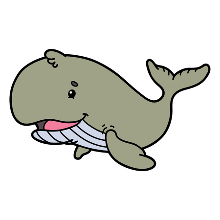 scrap book: Cute whale. Vector illustration of cute cartoon whale character for children and scrap book Illustration