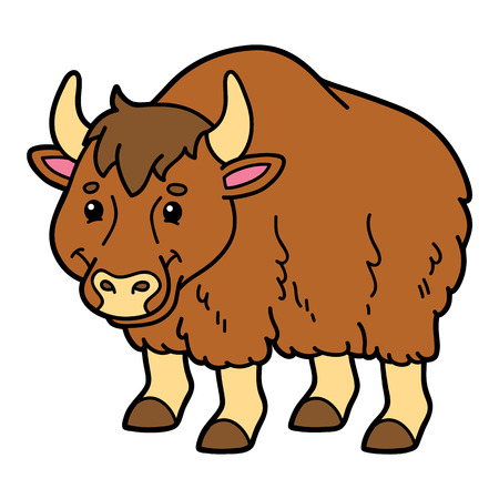 Cute yak. Vector illustration of cute cartoon yak character for children and scrap book