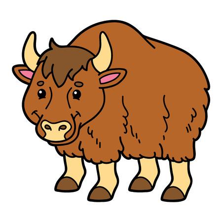 yak: Cute yak. Vector illustration of cute cartoon yak character for children and scrap book