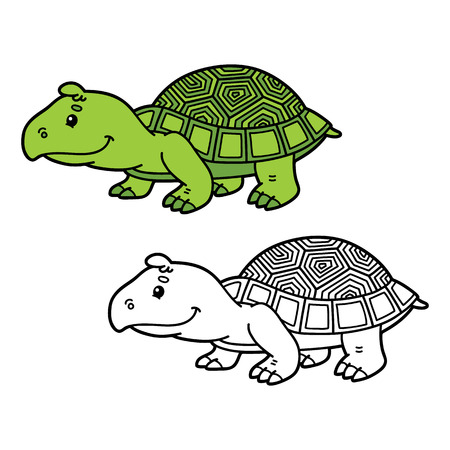 scrap book: funny turtle. Vector illustration coloring page of happy cartoon turtle for children, coloring and scrap book