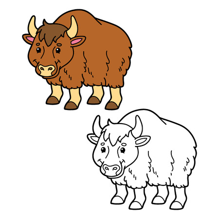 yak: funny yak. Vector illustration coloring page of happy cartoon yak for children, coloring and scrap book