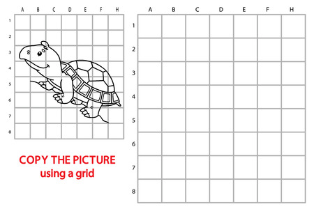 funny turtle game. Vector illustration of grid copy puzzle with happy cartoon turtle for children Illustration