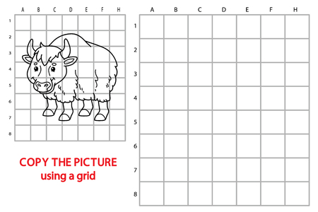 yak: funny yak game. Vector illustration of grid copy puzzle with happy cartoon yak for children Illustration