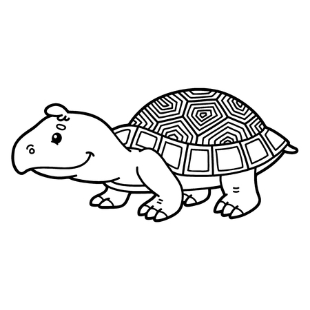 scrap book: Cute turtle. Vector illustration of cute cartoon turtle character for children, coloring and scrap book