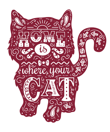 cat silhouette. Vector illustration of cute cat silhouette with quote Home is where your cat is Illustration