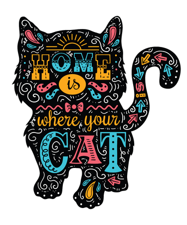 humor: cat silhouette. Vector illustration of cute cat silhouette with quote Home is where your cat is Illustration