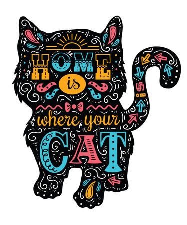 """Silueta del gato. Ilustración del vector de la silueta del gato lindo con la cita """"El hogar es donde su gato es"""""""