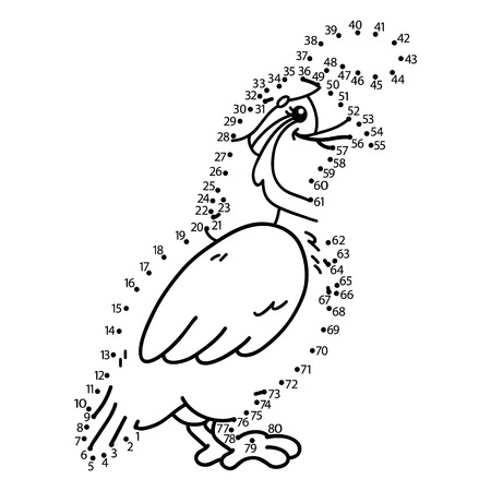 illustration of dot to dot puzzle with happy cartoon quail for children