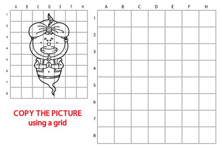 jinn: illustration of grid copy puzzle with happy cartoon Genie for children