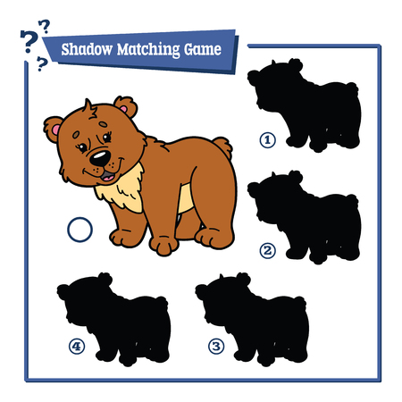 matching: illustration of shadow matching game with happy cartoon bear for children