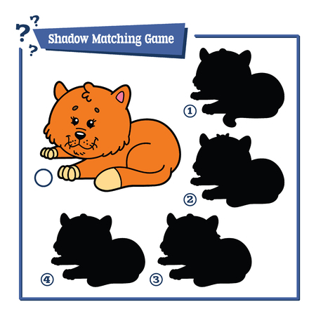matching: funny shadow cat game. Vector illustration of shadow matching game with happy cartoon cat for children