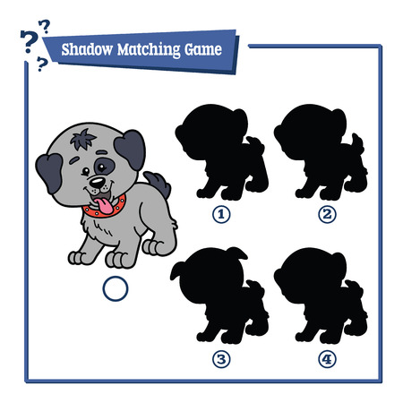 shadow silhouette: illustration of shadow matching game with happy cartoon dog for children