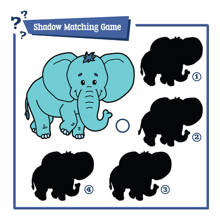 matching: illustration of shadow matching game with happy cartoon elephant for children