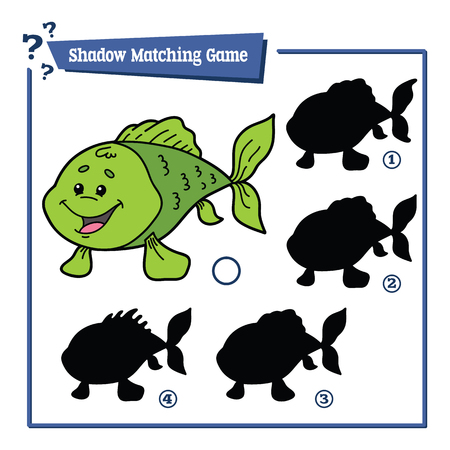 matching: illustration of shadow matching game with happy cartoon fish for children