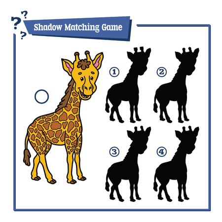 giraffe silhouette: illustration of shadow matching game with happy cartoon giraffe for children
