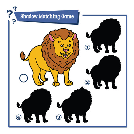 matching: illustration of shadow matching game with happy cartoon lion for children Illustration
