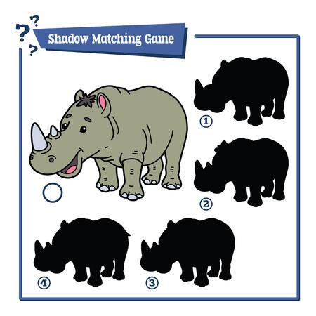 nashorn: Darstellung von Schatten-Matching-Spiel mit glücklichen Cartoon Rhino für Kinder Illustration