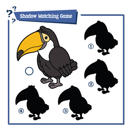 tucan: illustration of shadow matching game with happy cartoon tucan for children