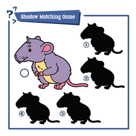 shadow match: illustration of shadow matching game with happy cartoon vole for children